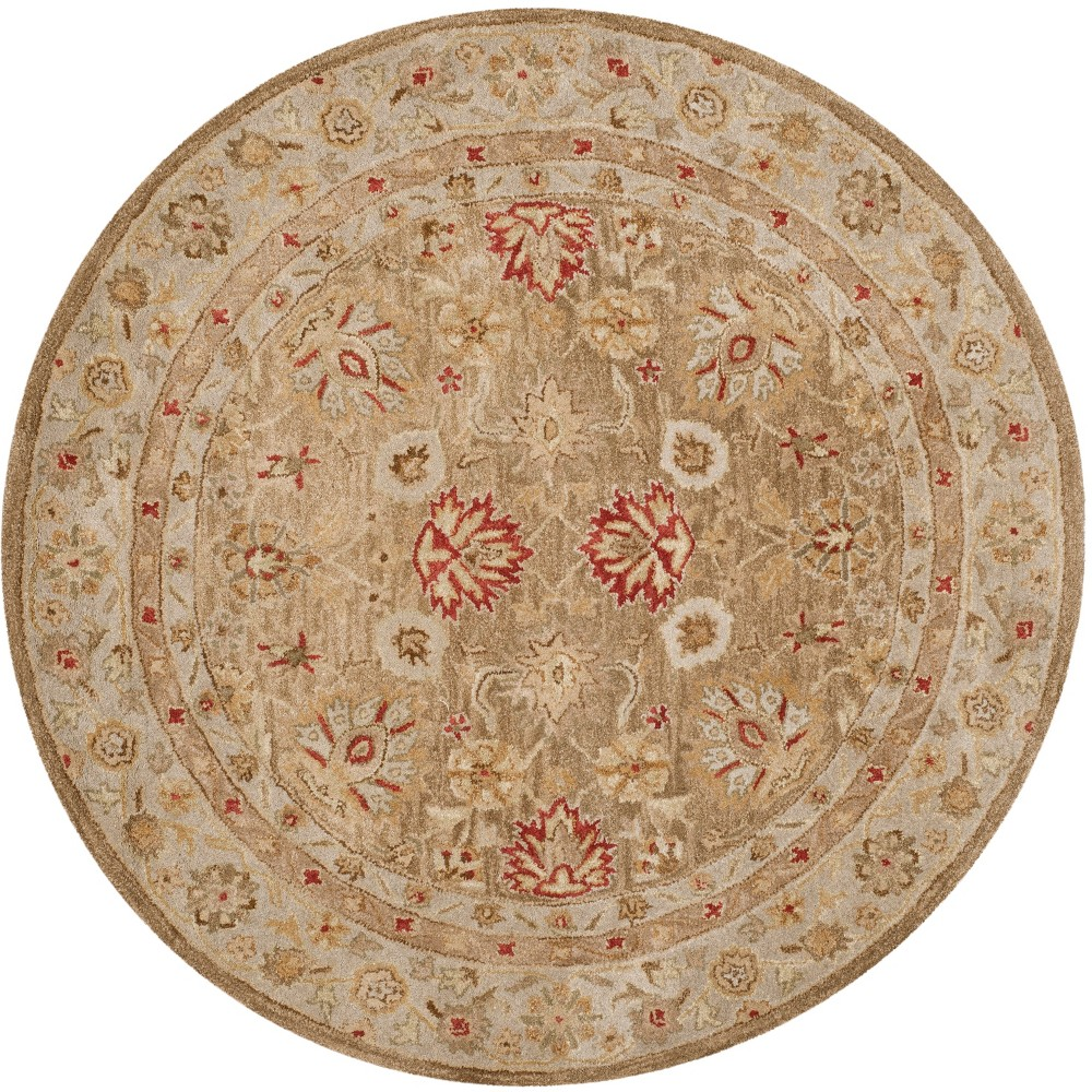 Image of 10' Floral Tufted Round Area Rug Brown/Beige - Safavieh, Size: 10' ROUND
