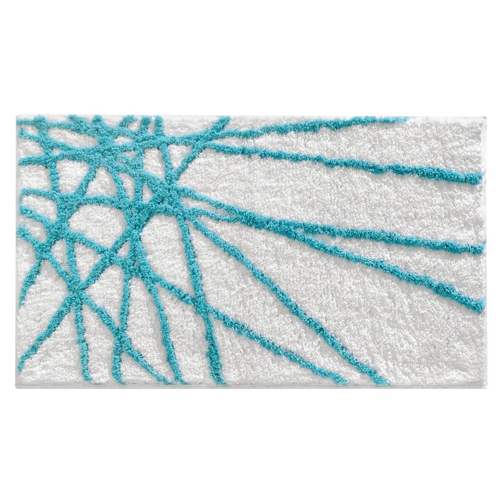 Image of Abstract Rug (34x21) Aqua/White (Blue/White) - InterDesign