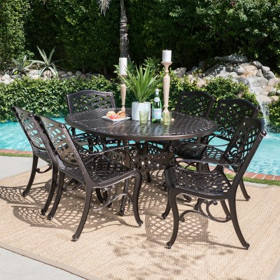Windley 7pc Aluminum Dining Set - Hammered Bronze - Christopher Knight Home