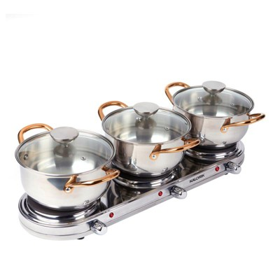 Kalorik 1650-Watt Stainless Steel Triple Buffet Burner 714-032 Refurbished