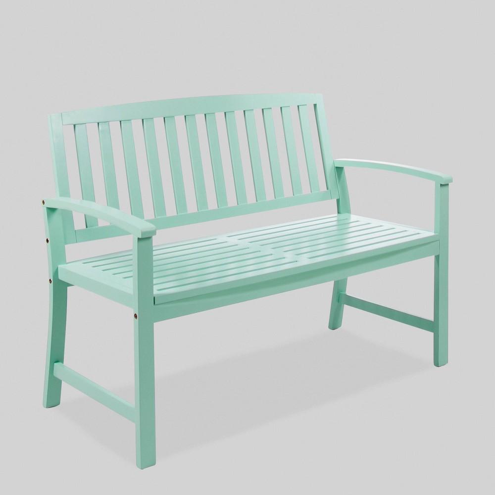 Loja Acacia Wood Patio Bench - Mint (Green) - Christopher Knight Home