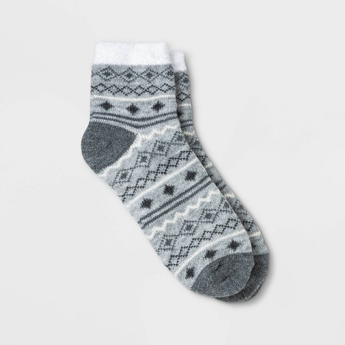Women's Fair Isle Double Lined Cozy Ankle Socks - A New Day™ Heather Gray 4-10 - image 1 of 1