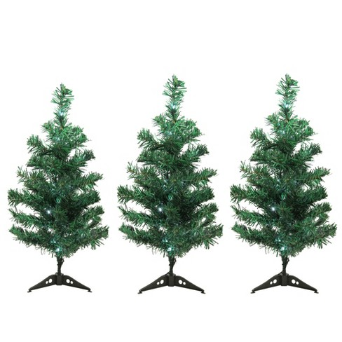 Lighted Christmas Tree.Northlight Set Of 3 Led Lighted Christmas Tree Driveway Or Pathway Markers Outdoor Decorations