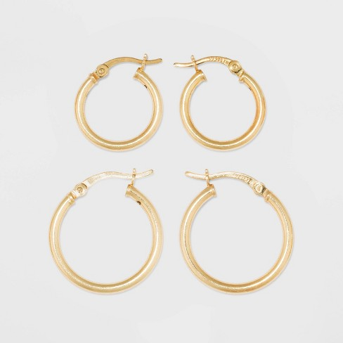 Gold Over Sterling Silver Hoop Fine Jewelry Earring Set 2pc - A New Day™ Gold - image 1 of 3