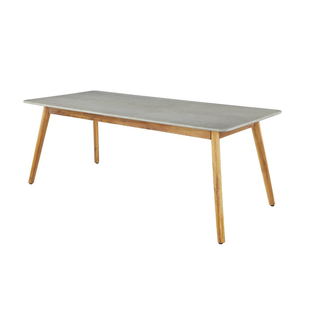 Image of Mid-Century Rectangular Concrete Outdoor Dining Table Brown - Olivia & May, Gray