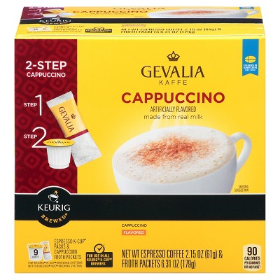 Gevalia Kaffe Cappuccino Espresso Dark Roast Coffee - Keurig K-Cup Pods - 9ct