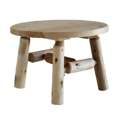 Lakeland Mills 25 Inch White Cedar Tree Log Wood Round Outdoor Patio Coffee Table, Natural