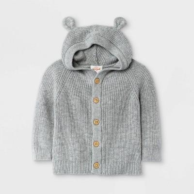 Baby Boys' Knit Critter Cardigan Sweater - Cat & Jack™ Gray 3-6M