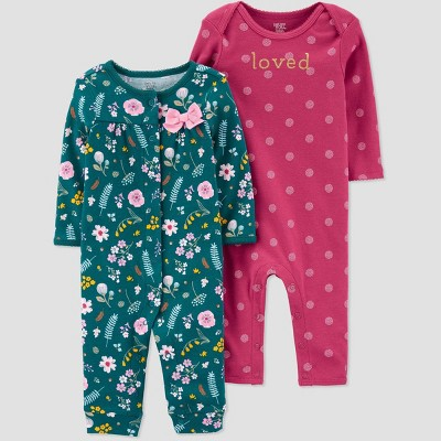Baby Girls' 2pk Floral Jumpsuits - Just One You® made by carter's 3M Green