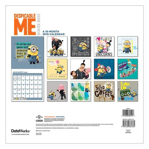 Minion Calendar 2020 2019 Wall Calendar Despicable Me   Trends International : Target