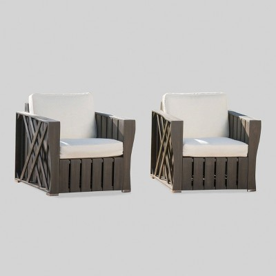 Cadence 2pk Acacia Wood Patio Club Chair - Gray/Cream - Christopher Knight Home