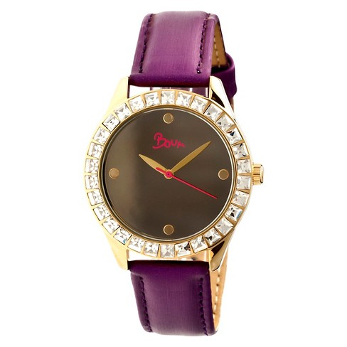 Women's Boum Chic Watch with Mirrored Dial and Crystal Surrounded Bezel-Purple - image 1 of 3