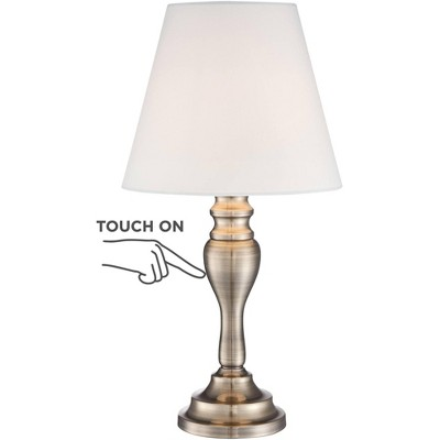 """Regency Hill Traditional Desk Table Lamp 19 1/4"""" High Brass Candlestick White Bell Shade Touch On Off for Bedroom Bedside Office"""