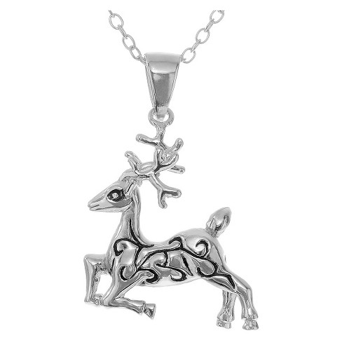 "Women's Journee Collection Rhodium-plated Reindeer Pendant Necklace in Sterling Silver - Silver (18"") - image 1 of 2"