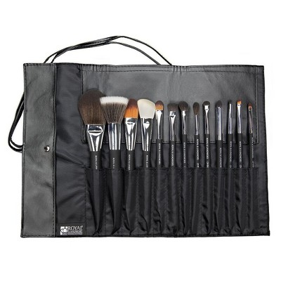 OMNIA Brush PROFESSIONAL 14pc Wrap Silver Makeup Brush Set with Wrap