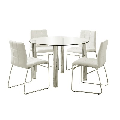 5pc Aneston Glass Top Chrome Leg Round Dining Table SetChrome/White - HOMES: Inside + Out
