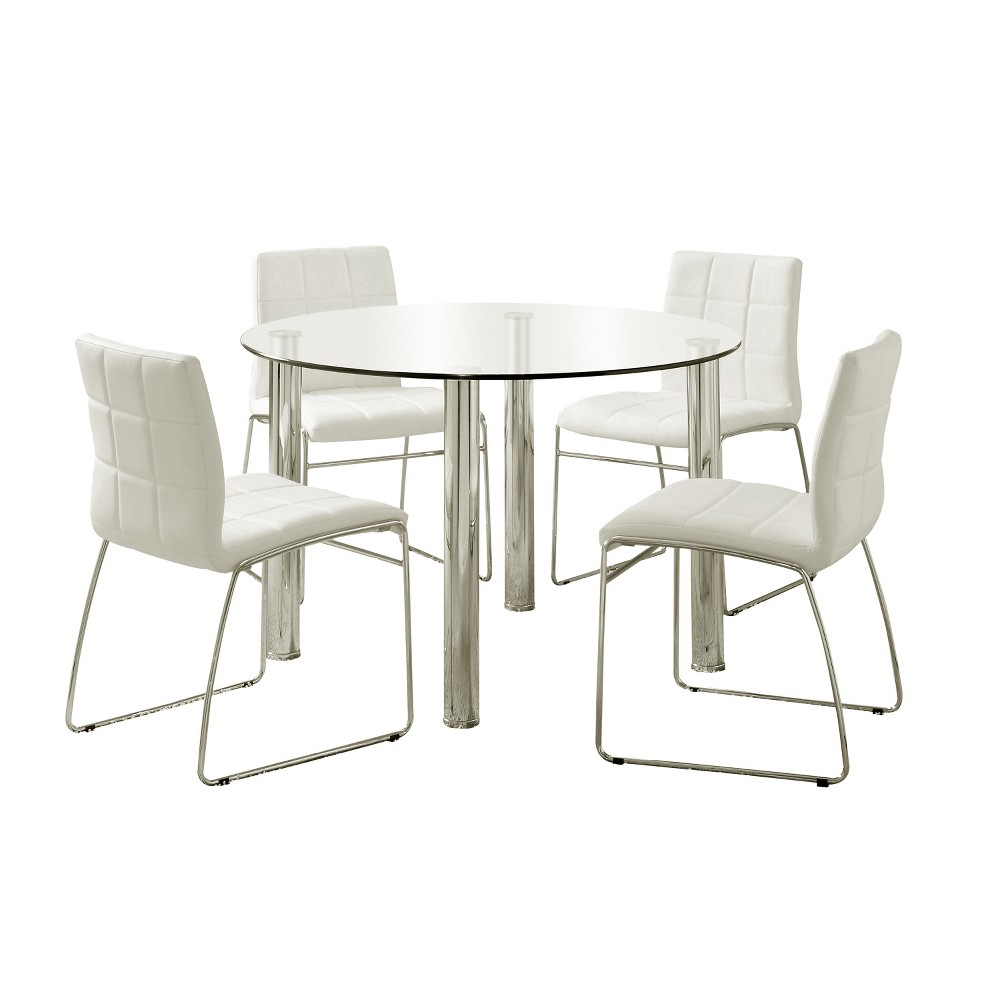 Image of 5pc Aneston Glass Top Chrome Leg Round Dining Table SetChrome/White - ioHOMES