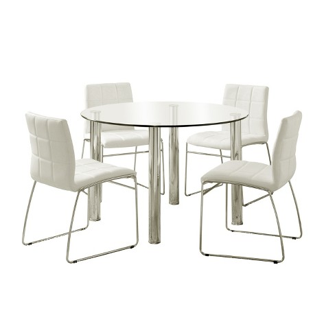 Iohomes 5pc Glass Top Chrome Leg Round Dining Table Set Metalwhite