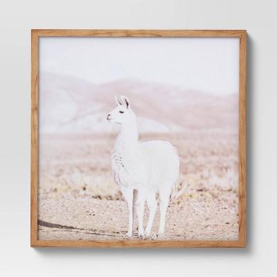 "24"" x 24"" Llama Framed Wall Art Brown - Threshold™"