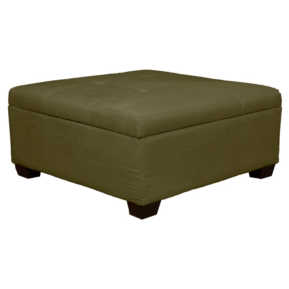 Heirloom Tufted Padded Hinged Ottoman - Suede - Epic Furnishings, Olive Heather