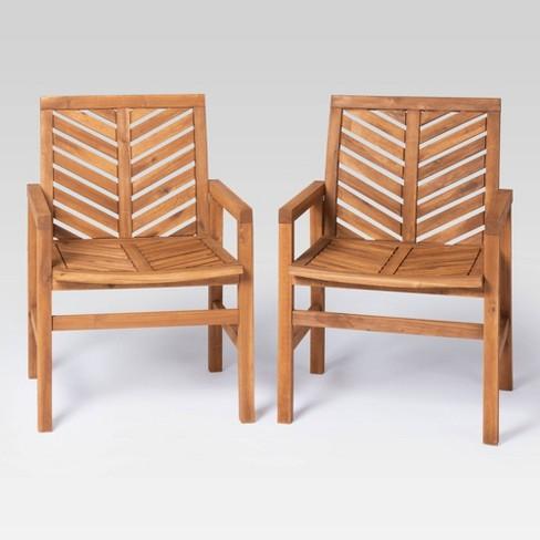 Coro 2pk Chevron Slatted Patio Chairs, Patio Furniture Wood