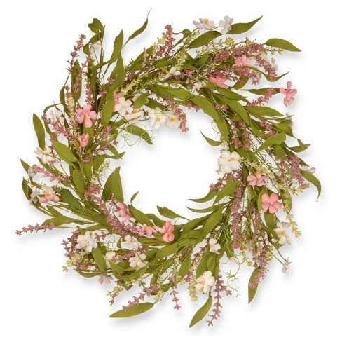 """Artificial Spring Wreath Pink 22"""" - National Tree Company - image 1 of 2"""