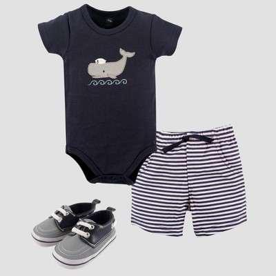 Hudson Baby Boys' Bodysuit, Shorts & Shoe Set, Whale - Blue 0-3M