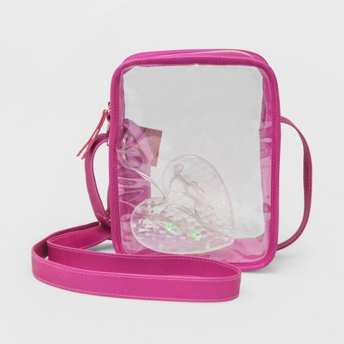 Stella & Max Clear Crossbody Bag with Light Up Heart - Pink - image 1 of 3