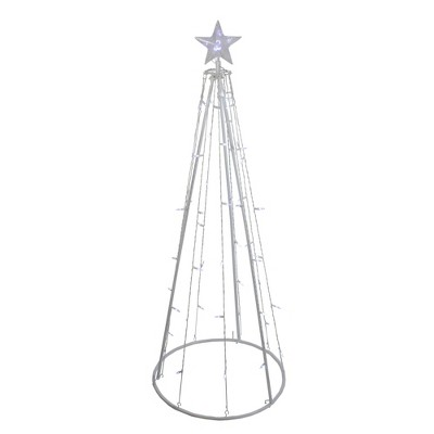 Northlight 5' Pure White LED Lighted Cone Tree Outdoor Christmas Decoration