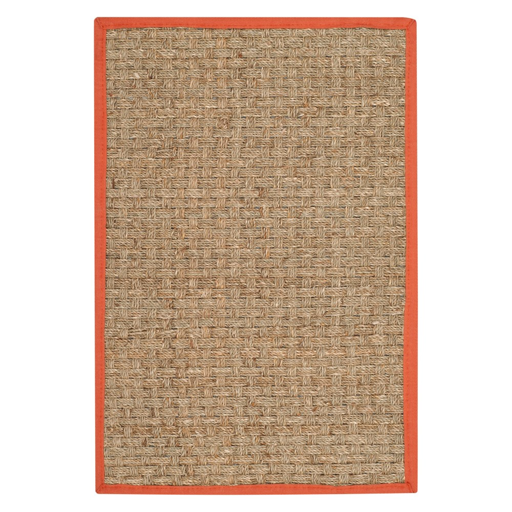 2'X3' Solid Loomed Accent Rug Natural/Rust (Natural/Red) - Safavieh