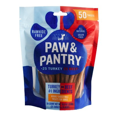 Paw & Pantry Twist Variety Pack Turkey and Beef Dog Treats - 50pk