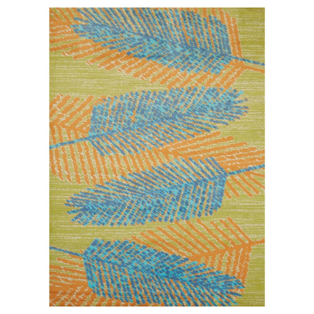 "Image of ""Aqua Leaf Hooked Area Rug - (5'3""""x7') - United Weavers"""