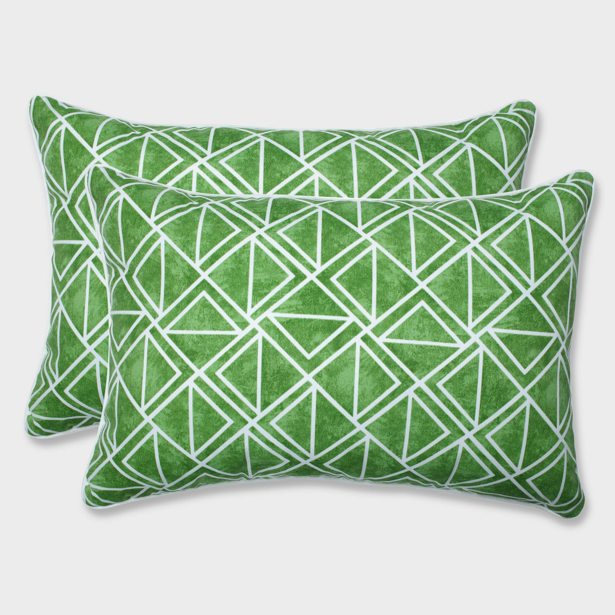 2pk Oversize Lanova Palm Rectangular Throw Pillows Green - Pillow Perfect
