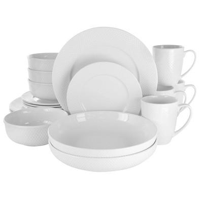 18pc Porcelain Maisy Round Dinnerware Set White - Elama