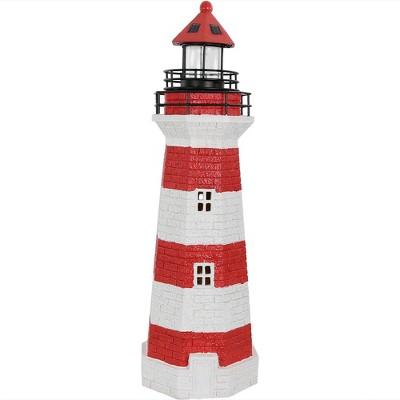 """36"""" Solar LED Garden Lighthouse - Red Stripe - Sunnydaze Decor"""
