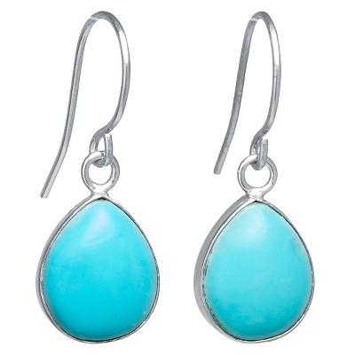 Sterling Silver Tear Drop Earrings - Turquoise/Silver