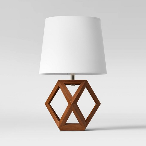 Geometric Wood Figural Accent Lamp Brown - Threshold™ - image 1 of 4
