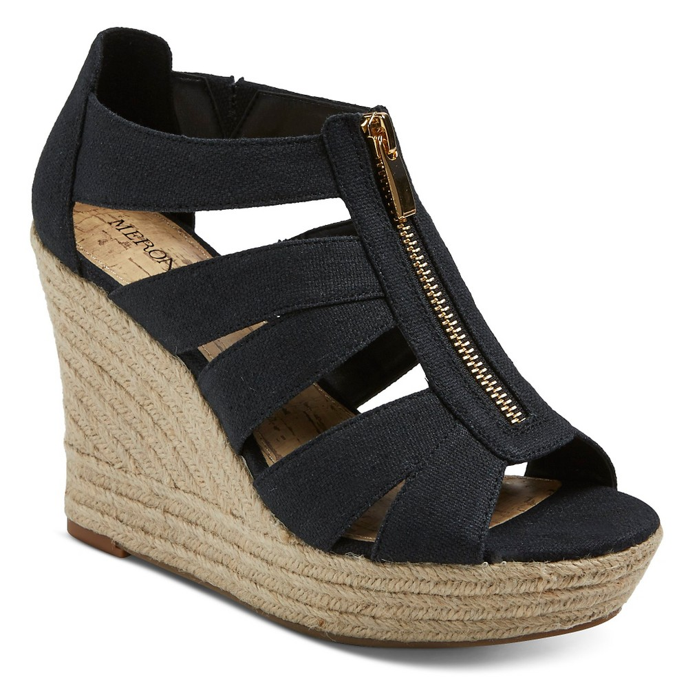 Women's Wide Width Meredith Espadrille Sandals - Merona Black 7W, Size: 7 Wide