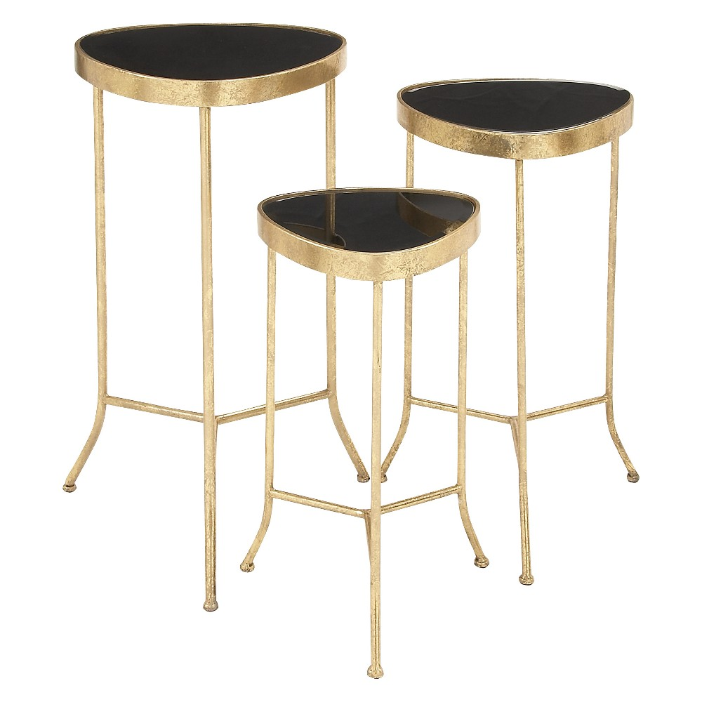 Metal and Glass (Set of 3) Modern Accent Tables - Olivia & May, Multi-Colored