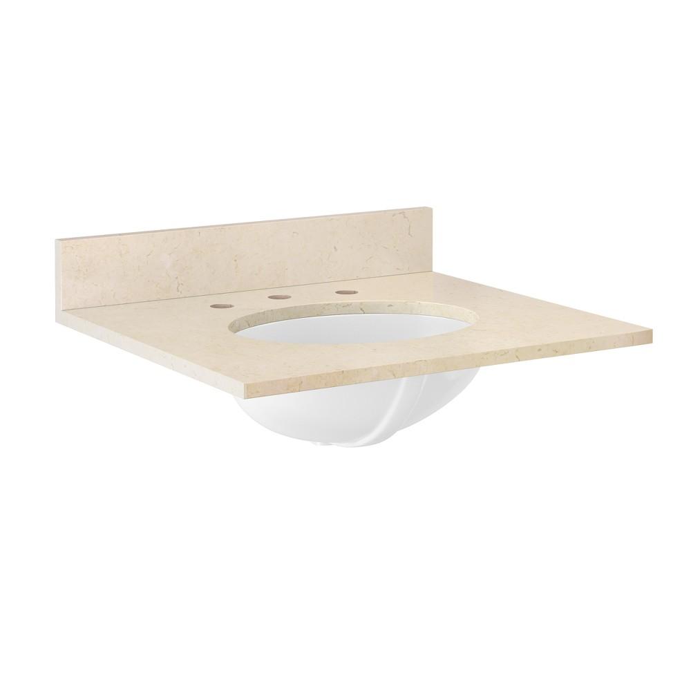 Marble Sink Top Bath Vanity Cabinet Buff Beige 25 - Alaterre Furniture