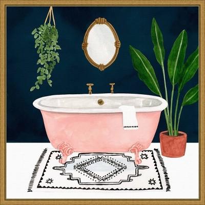 """16"""" x 16"""" Boho Bath II by Victoria Borges Framed Canvas Wall Art - Amanti Art"""