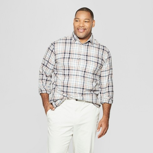 Men's Big & Tall Plaid Long Sleeve Cotton Slub Button-Down Shirt - Goodfellow & Co™ - image 1 of 3