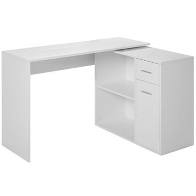 HomCom L-Shaped Computer Desk Workstation with Rotating Storage Shelves and Drawer