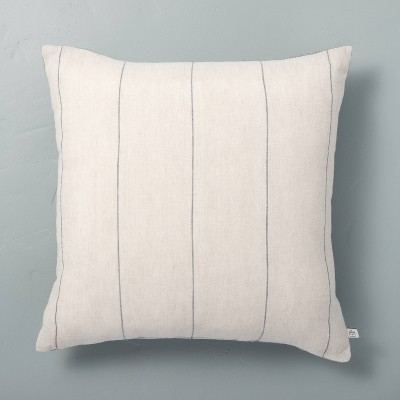 "18"" x 18"" Delicate Stripe Throw Pillow Sour Cream/Blue - Hearth & Hand™ with Magnolia"