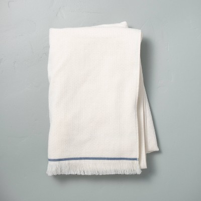 Textured Border Stitch Bath Sheet Sour Cream/Faded Blue - Hearth & Hand™ with Magnolia