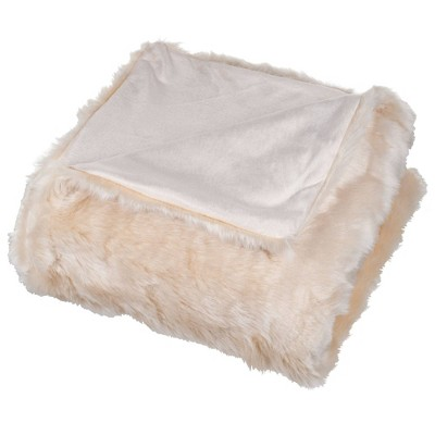 "60""x50"" Luxury Long Haired Faux Fur Throw Blanket Beige - Yorkshire Home"