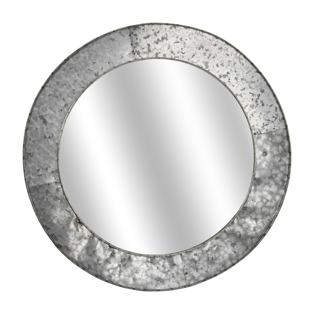 "Image of ""21.65x0.78""""x21.65"""" Galvanized Metal Round Wall Mirror Gray - E2 Concepts"""