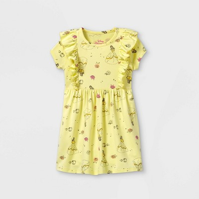 Toddler Girls' Disney Princess Sleeveless Knit Dress - Light Yellow