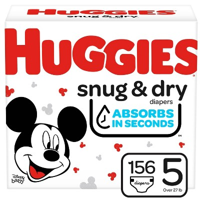 Huggies Snug & Dry Baby Disposable Diapers - Size 5 - 156ct