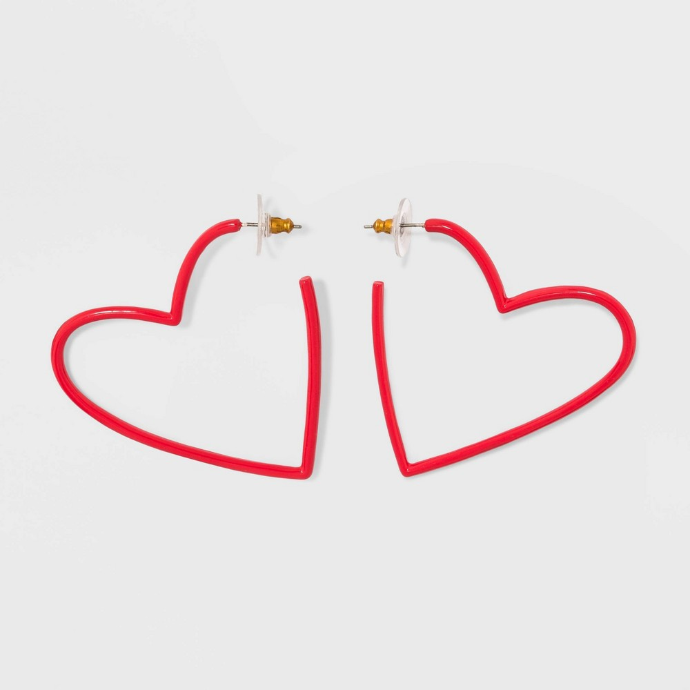 Best Sale Sugarfix By BaubleBar Coated Heart Hoop Earrings Red Girl